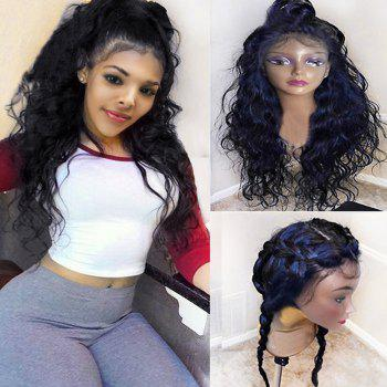 Long Free Part Bouffant Natural Wavy Synthetic Lace Front Wig - BLACK