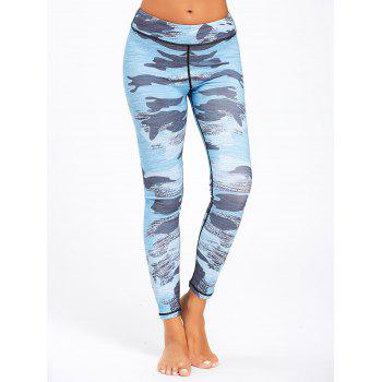 Sports Camo Printed Running Leggings - NAVY BLUE S