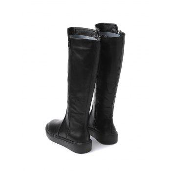 Faux Leather Side Zipper Mid Calf Boots - BLACK 38