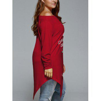 Plus Size Christmas Skew Neck Asymmetrical T-shirt - WINE RED 5XL