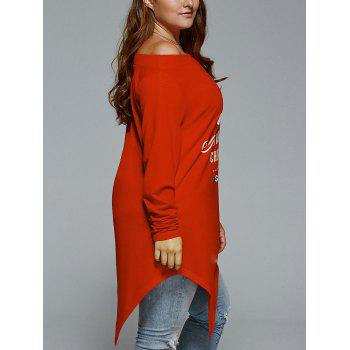 Plus Size Christmas Skew Neck Asymmetrical T-shirt - RED 3XL