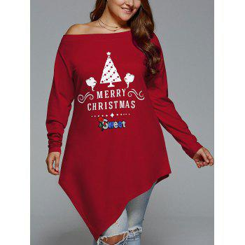 Plus Size Christmas Skew Neck Asymmetrical T-shirt - WINE RED XL