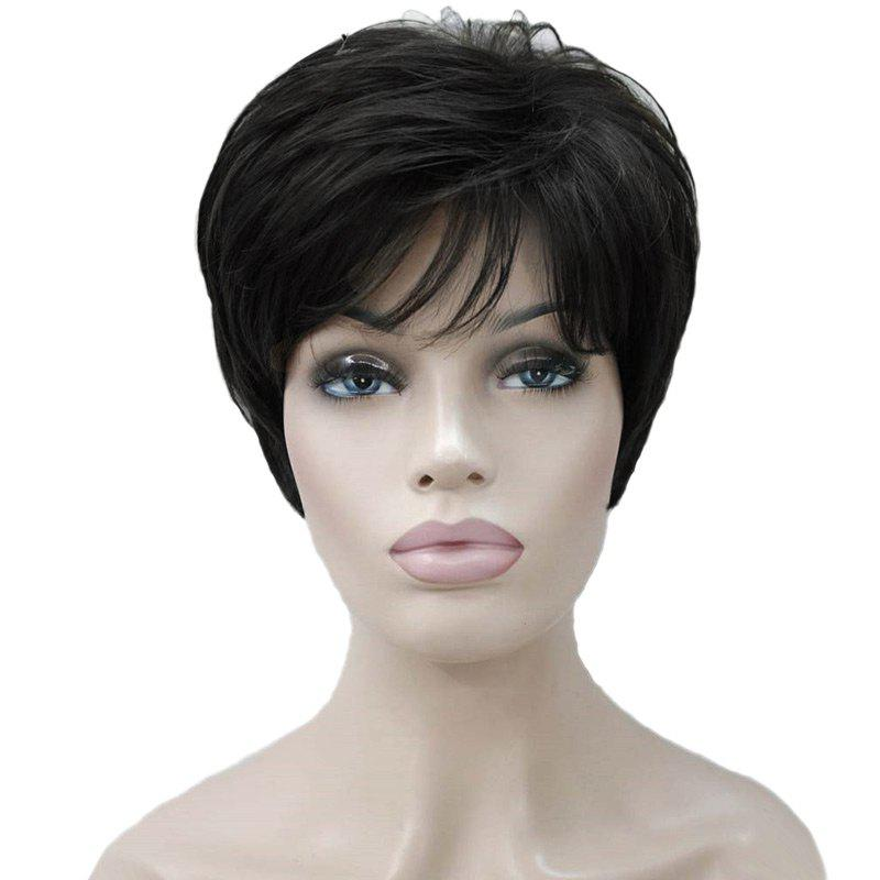 Short Side Fringe Fluffy Layered Straight Human Hair Wig - BLACK