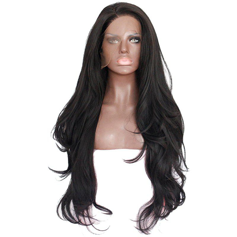 Long Side Parting Layered Slightly Curly Synthetic Lace Front Wig long side parting curly lace front human hair wig