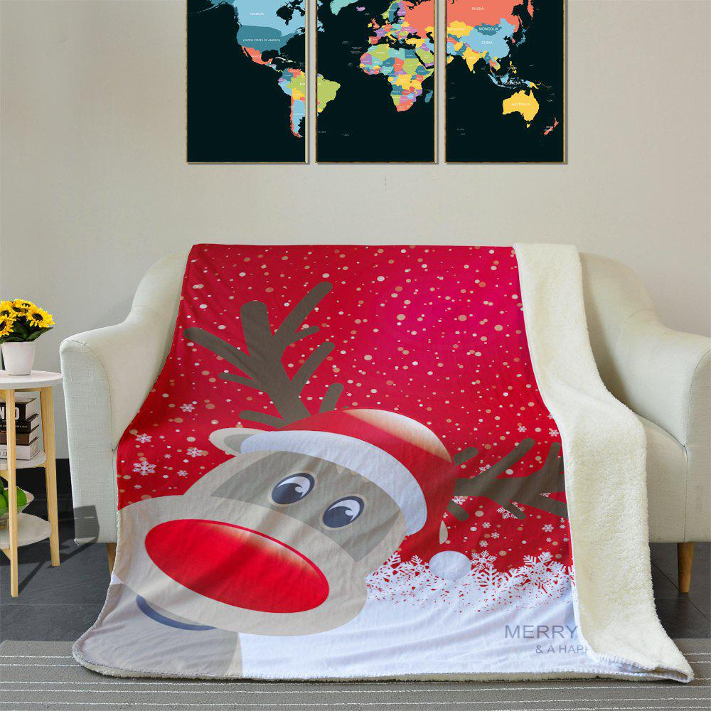 Christmas Deer Soft Fleece Thermal Blanket - RED W59 INCH * L79 INCH