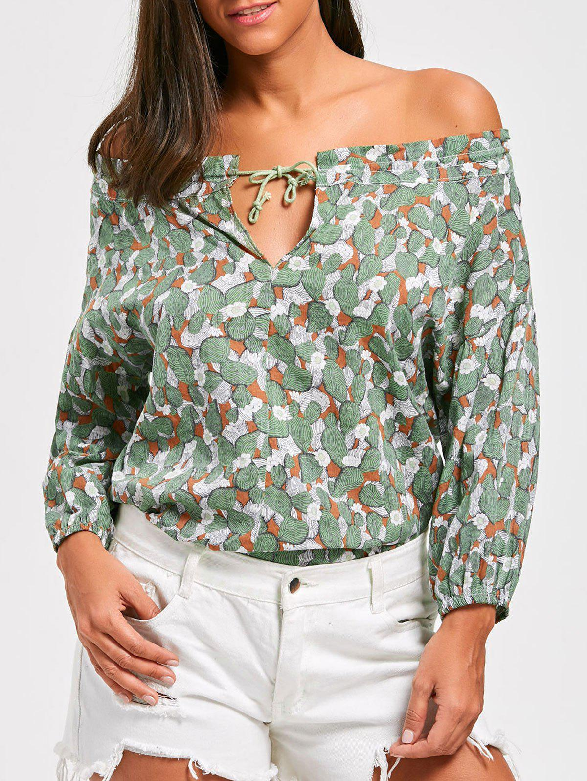 Off The Shoulder Floral Print Tunic Blouse - GREEN ONE SIZE