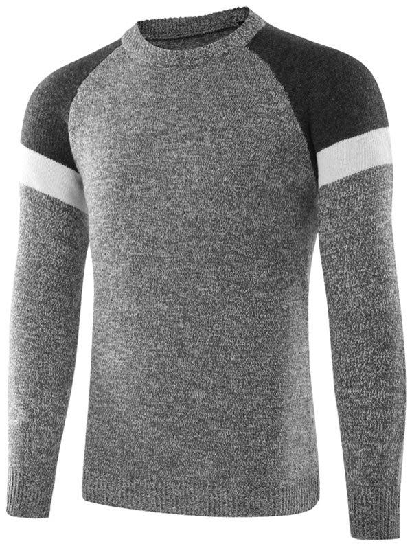 Raglan Sleeve Crew Neck Color Block Sweater - Gris clair M