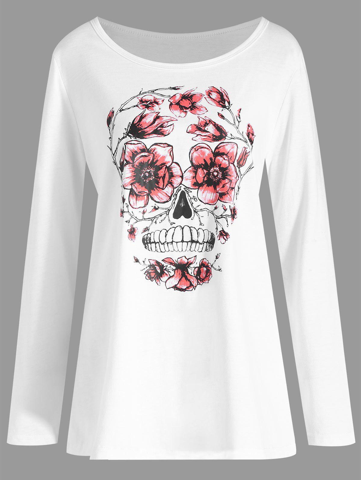 Plus Size Halloween Skull Floral Print T-shirt 1pc colorful lcd display infrared thermometer non contact digital ir laser thermometer 30 300degree for bside btm21a