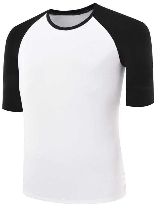 Two Tone Half Raglan Sleeve Tee - BLACK M