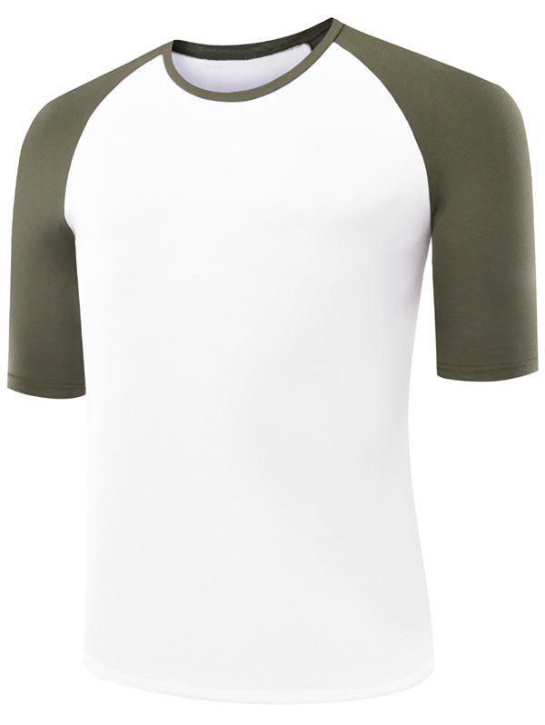 Two Tone Half Raglan Sleeve Tee - ARMY GREEN XL