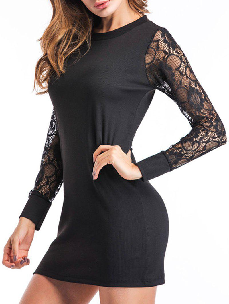 Lace Insert Knit Mini Bodycon Dress - Noir XL