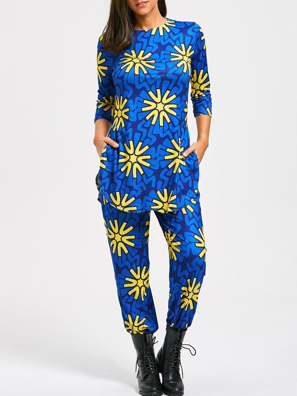 Floral Print Slit T-shirt and High Waist Pants - BLUE L