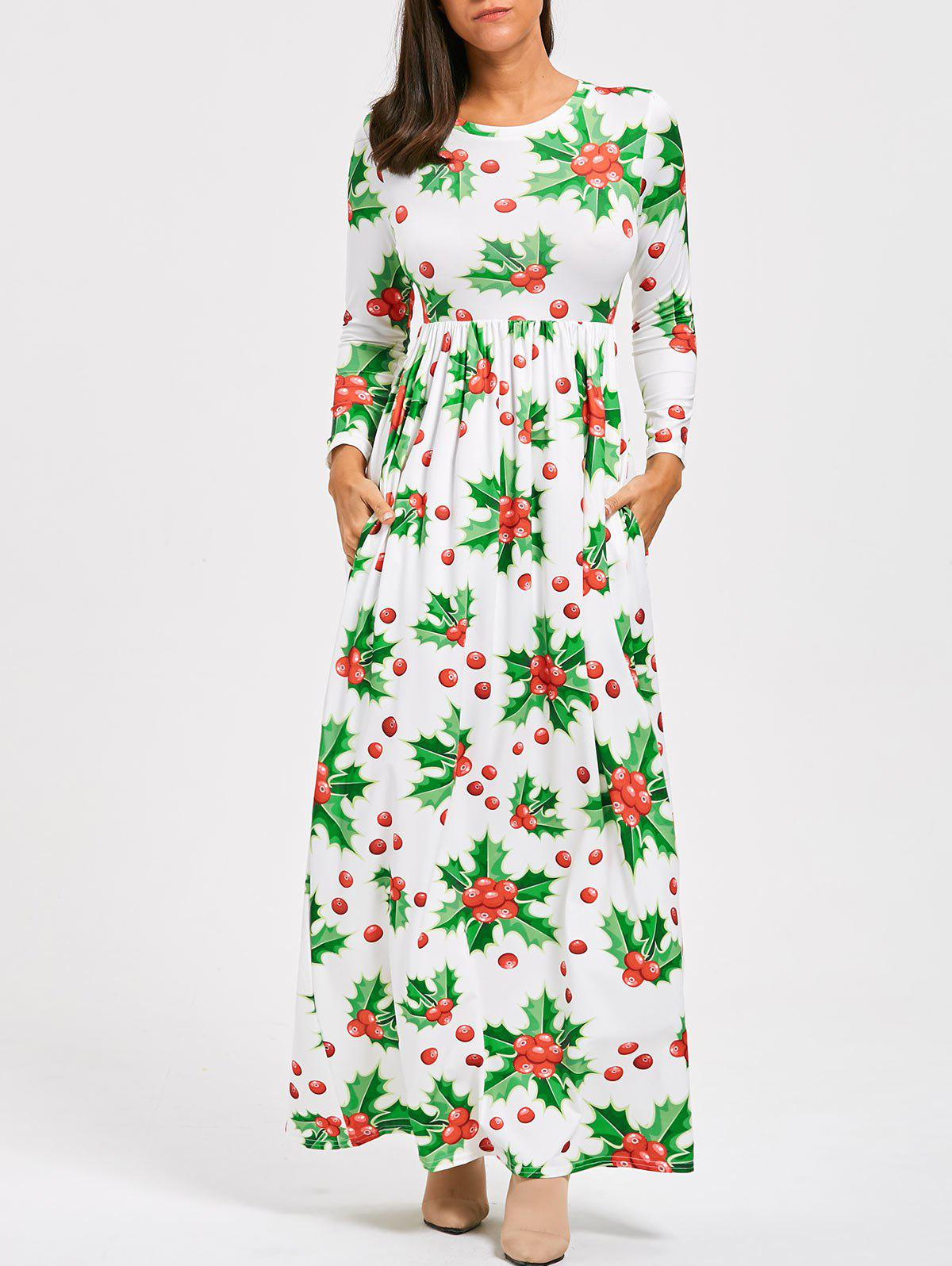 Christmas Berries Print Maxi Dress - GREEN L