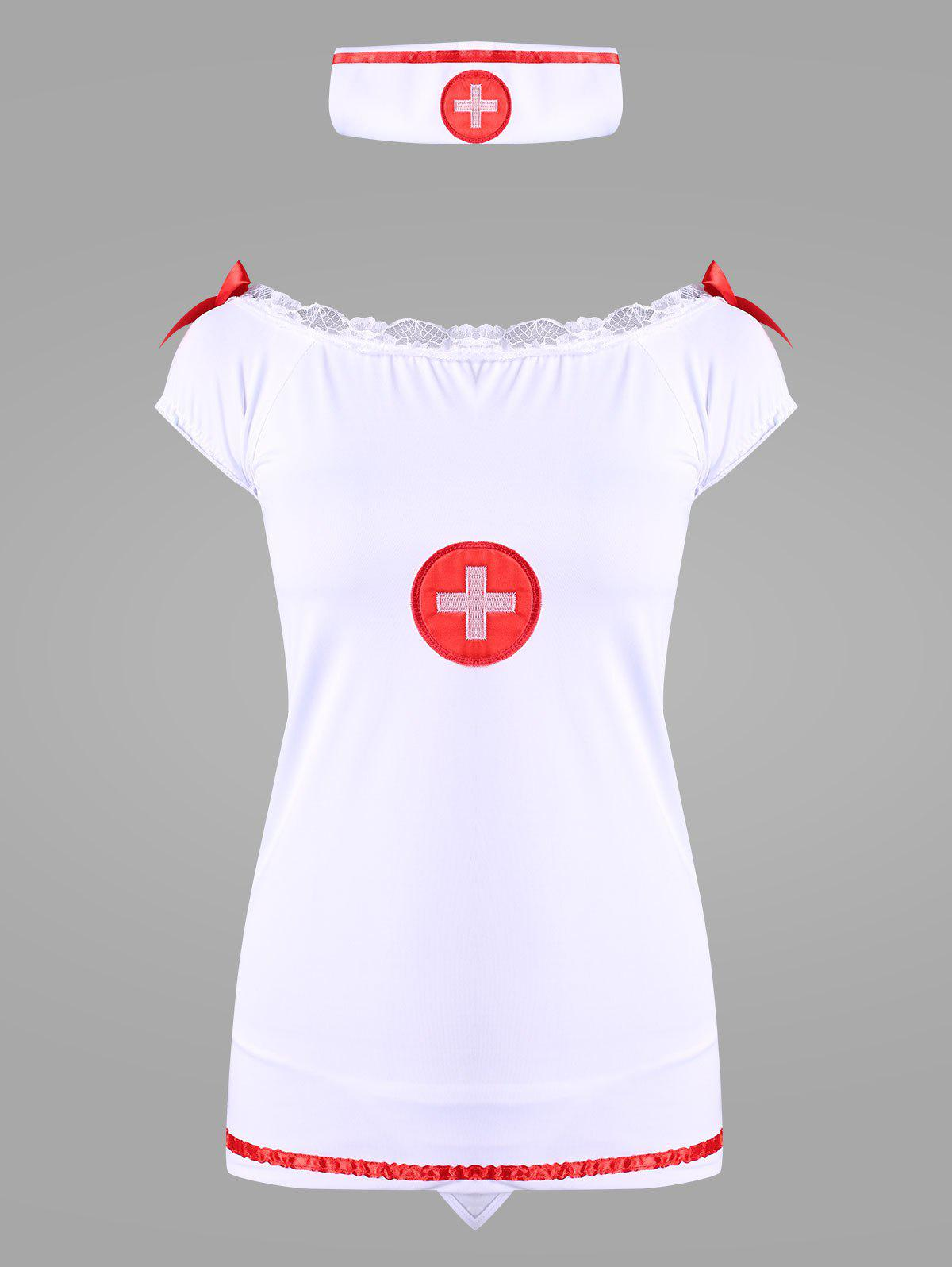 Off Shoulder Nurse Dress Costume - WHITE ONE SIZE