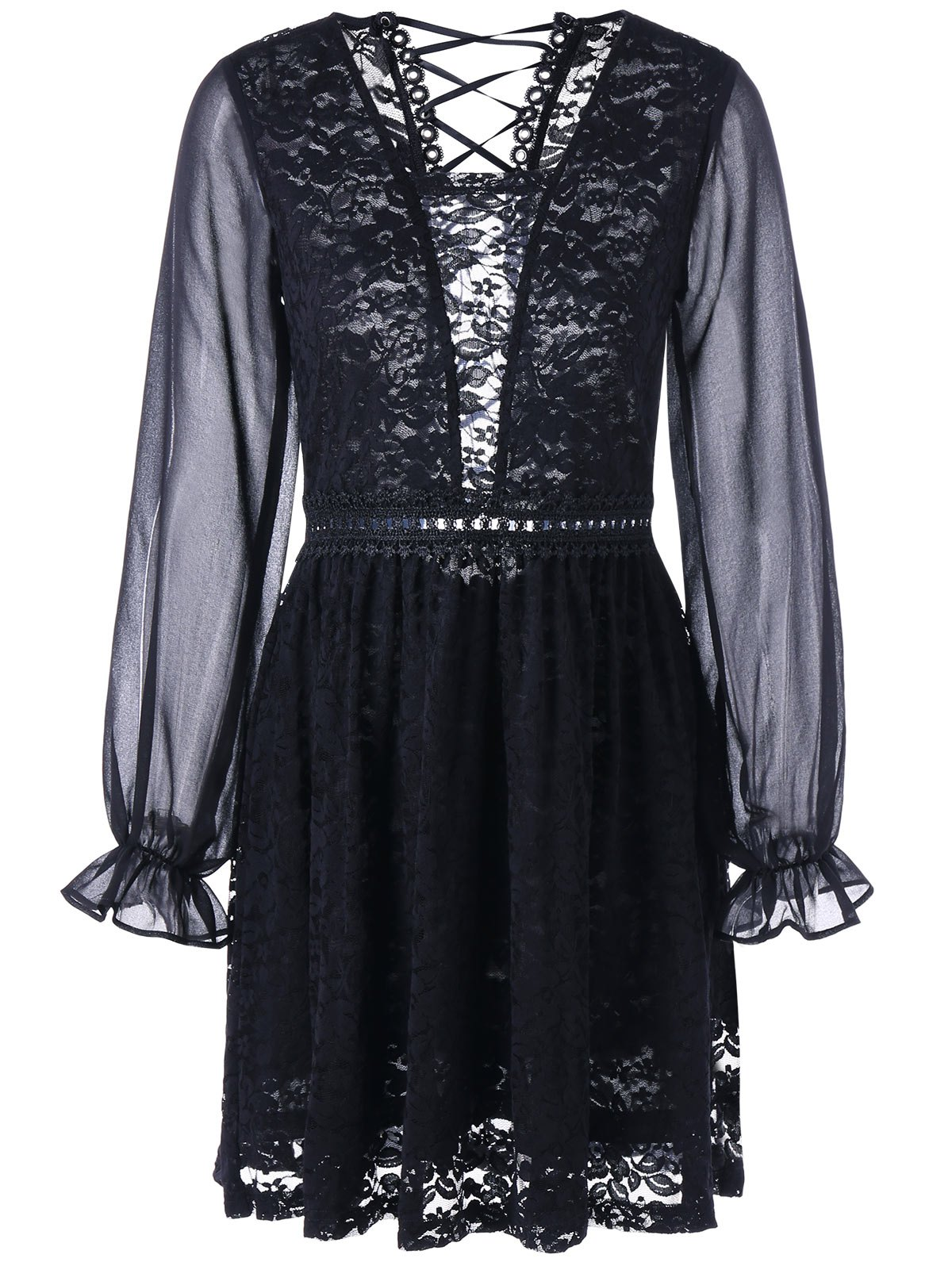Back Tie Up Long Sleeve Sheer Lace Dress - BLACK L