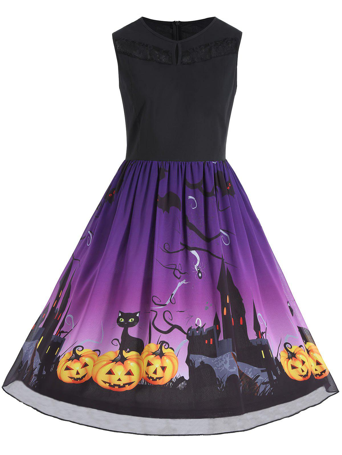 Plus Size Sleeveless Halloween Pumpkin Print Dress - PURPLE 3XL