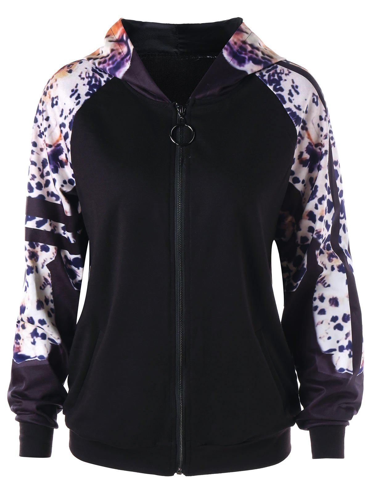Raglan Sleeve Leopard Print Zipper Up Hoodie - BLACK 2XL