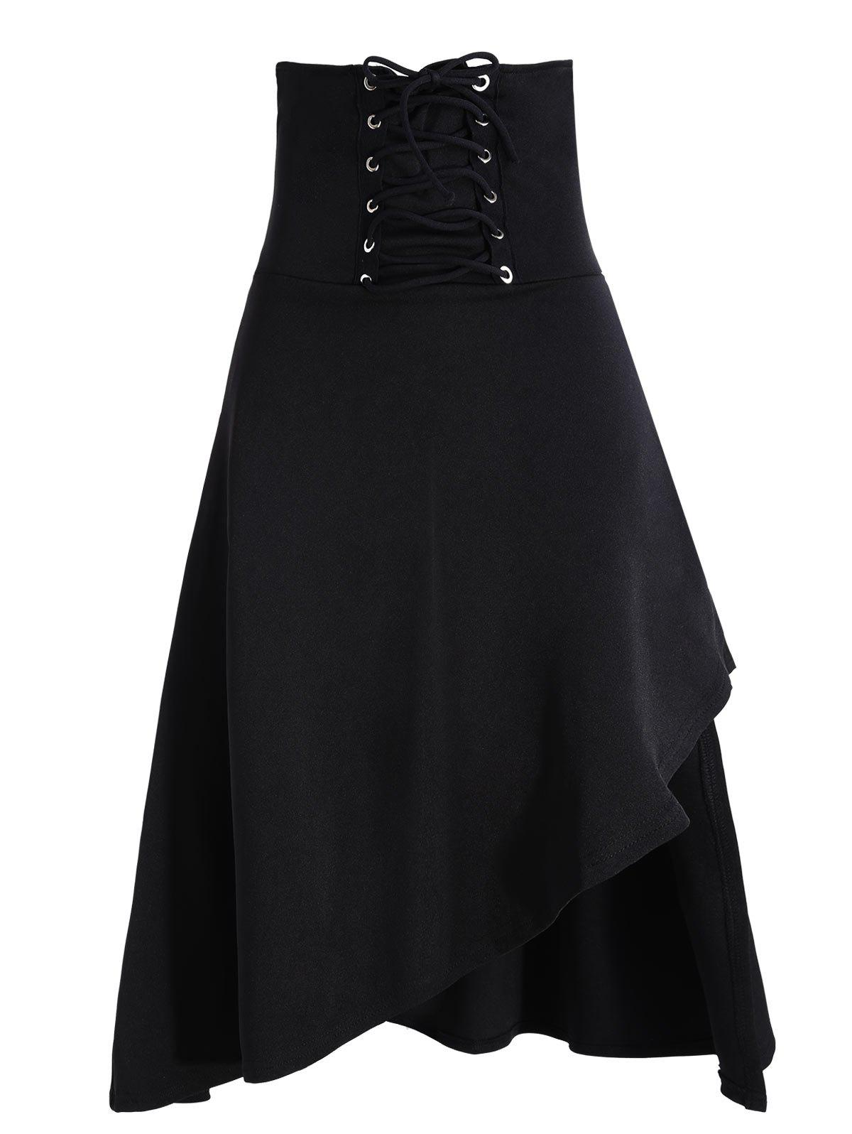 Lace Up Asymmetric Gothic Long Skirt - BLACK M