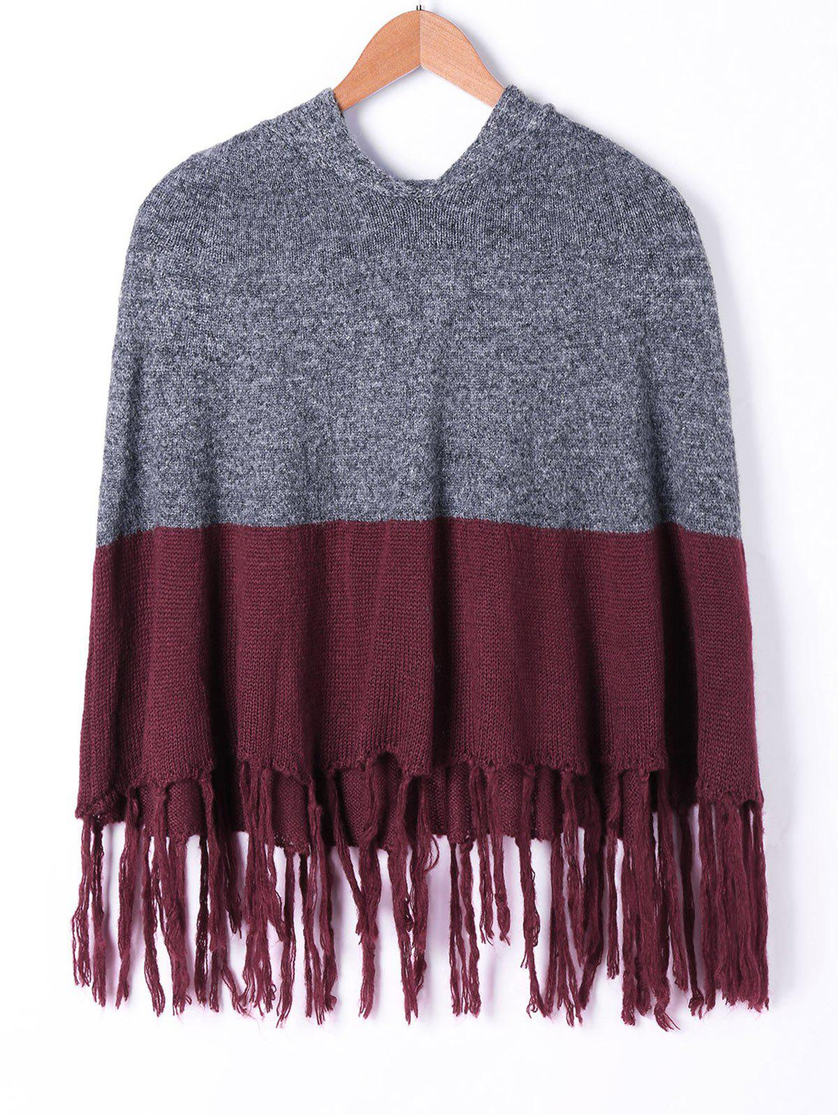 Hooded Tassel Two Tone Knit Cape - COLORMIX 2XL
