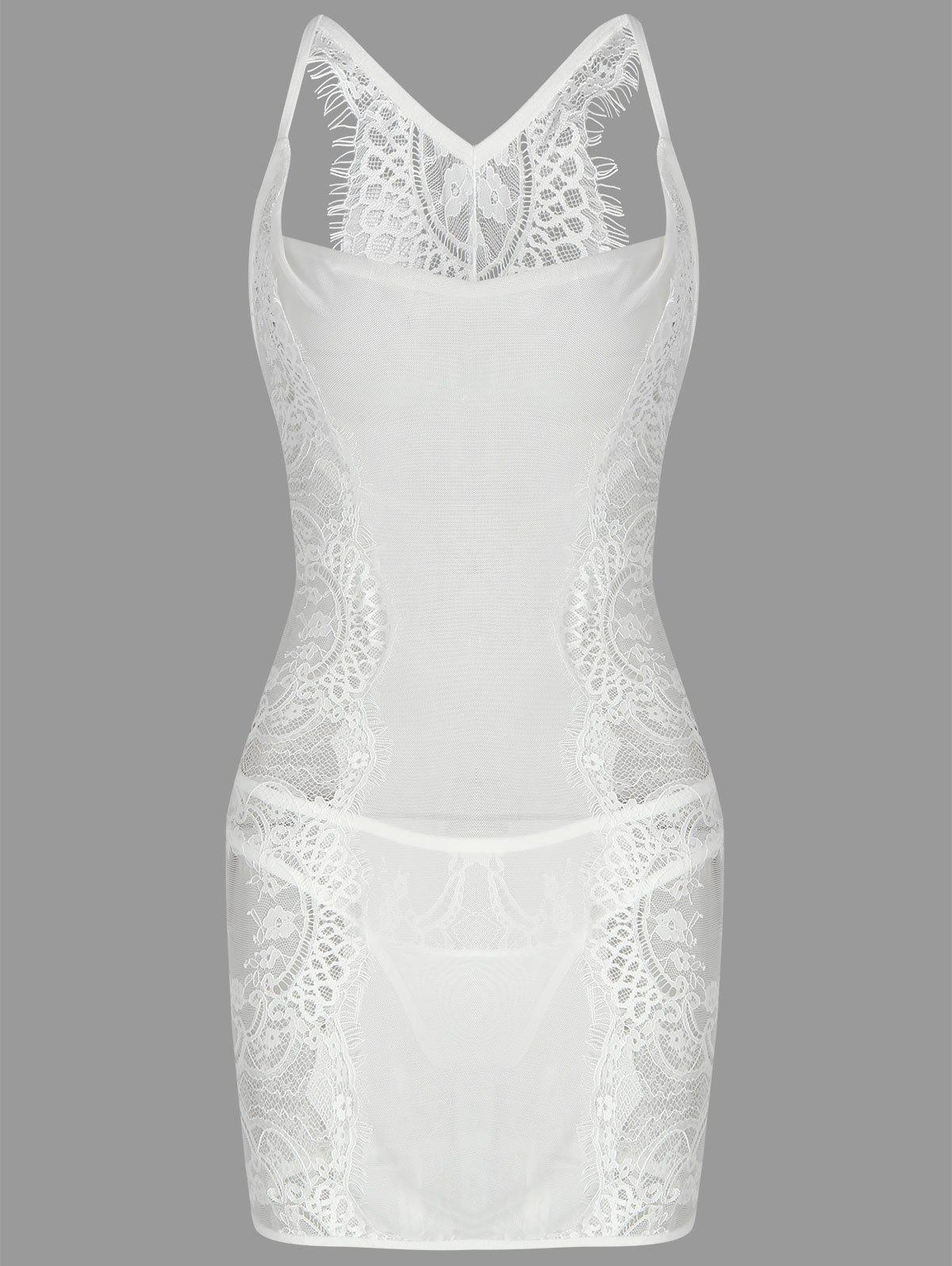 See Through Bodycon Dress - WHITE L
