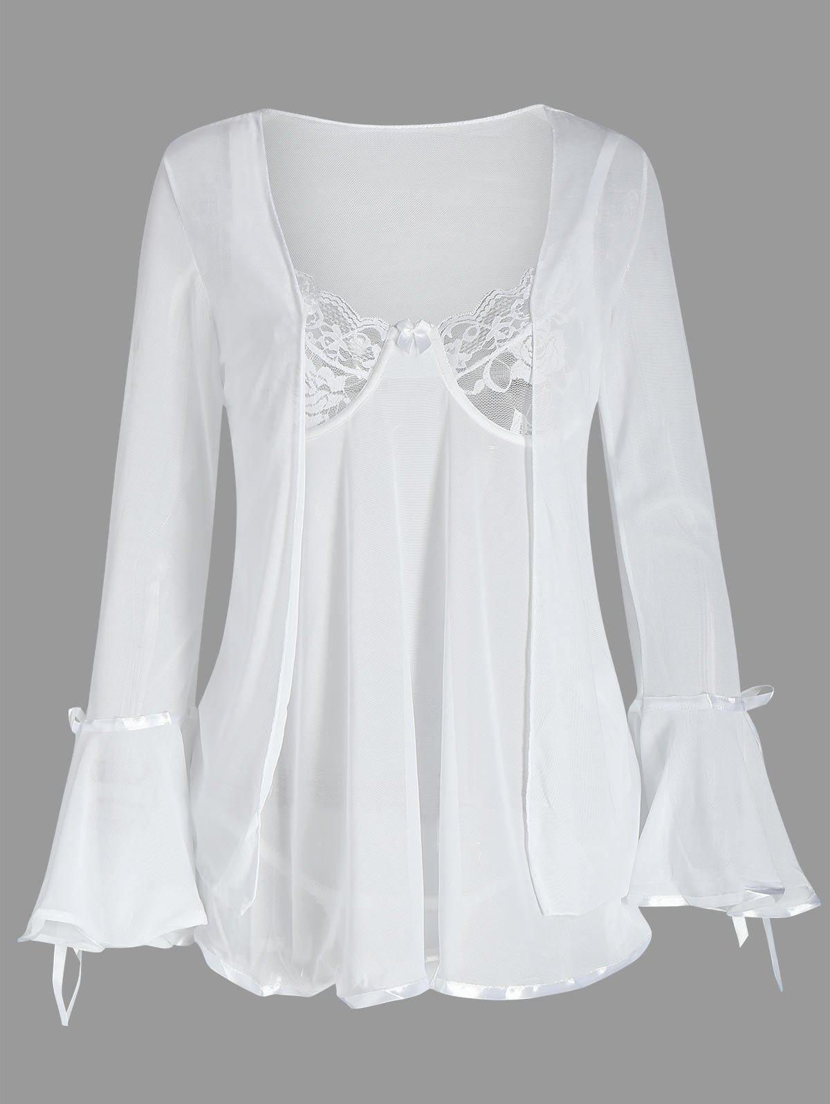 Mesh Babydoll with Flare Sleeve Cover Up - WHITE ONE SIZE
