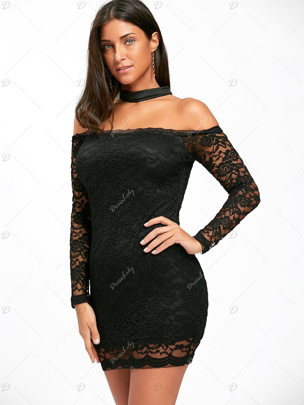 Off The Shoulder Lace Choker Bodycon Dress - BLACK M