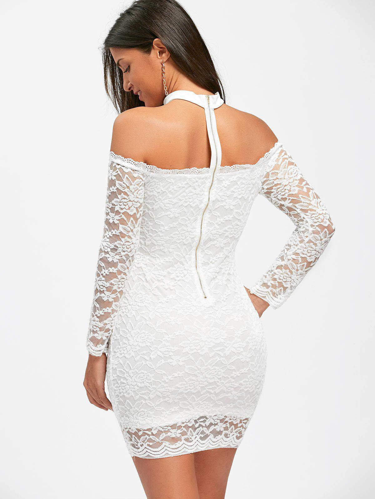 Off The Shoulder Lace Choker Bodycon Dress - Blanc S