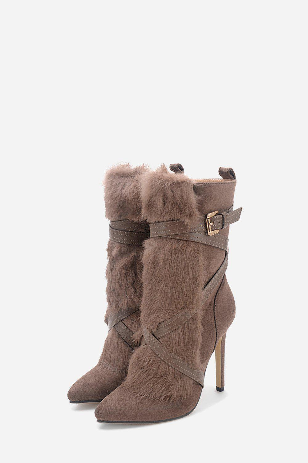 Stiletto Heel Faux Fur Ankle Boots faux suede stiletto ankle boots dusty rose