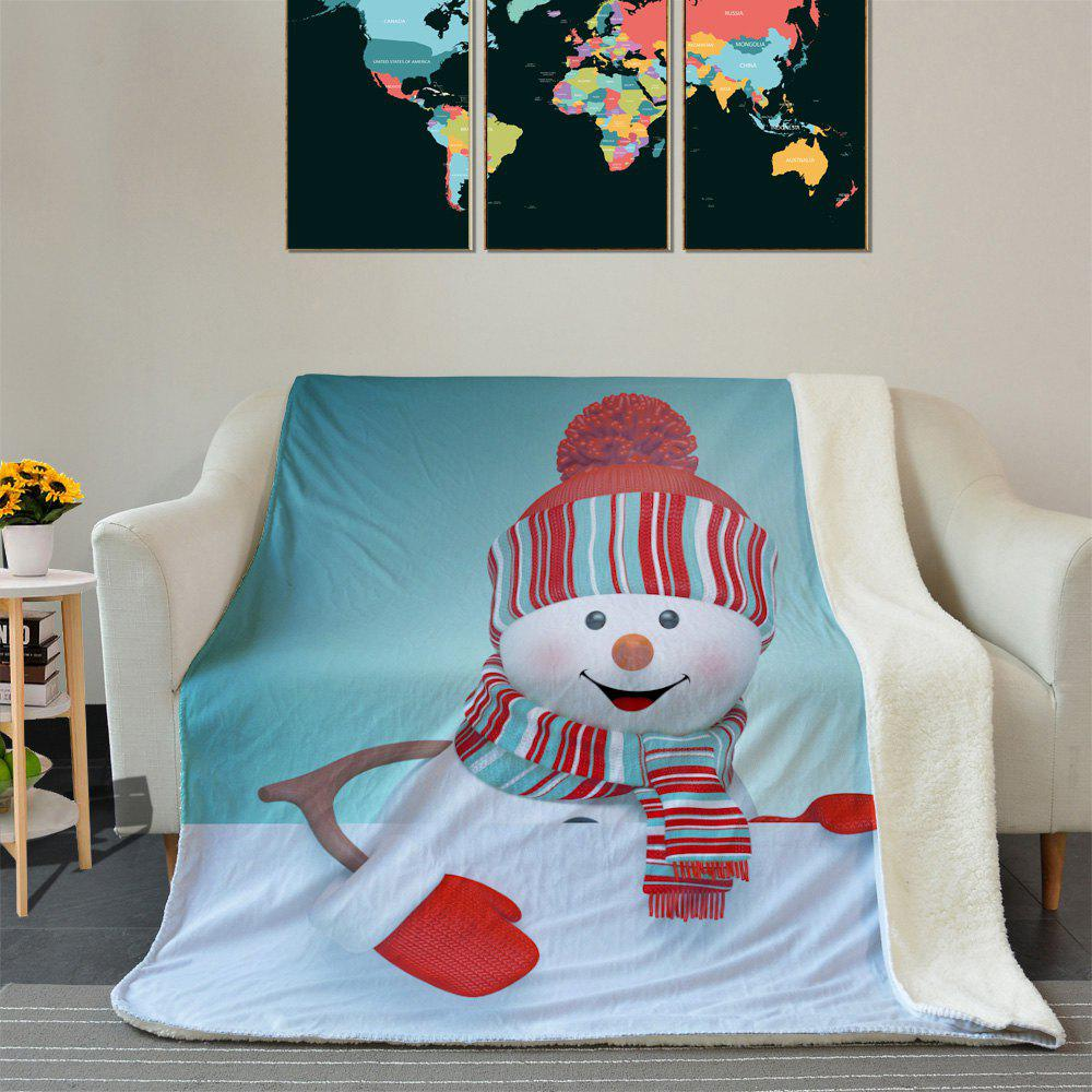 Christmas Snowman Pattern Fleece Soft Blanket - COLORMIX W59 INCH * L79 INCH