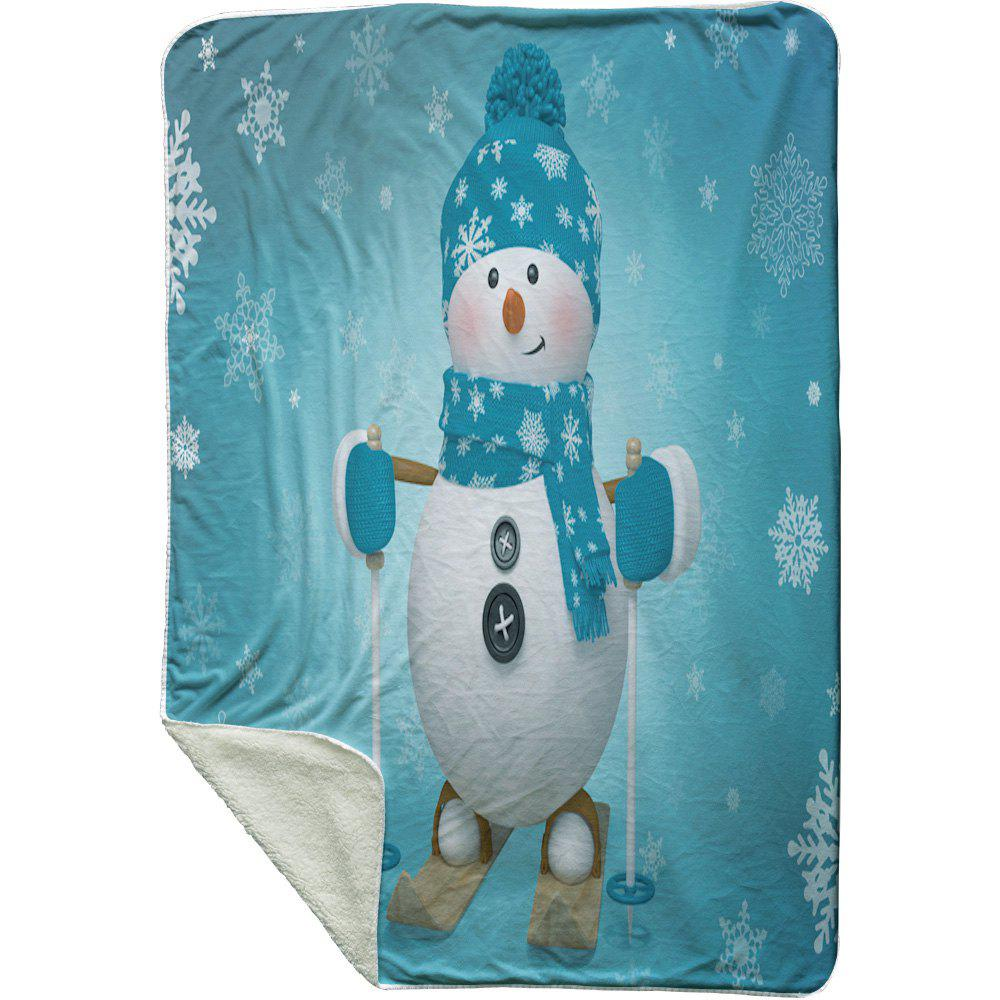 Christmas Snowman Printed Soft Fleece Thermal Blanket - TURQUOISE W59 INCH * L79 INCH