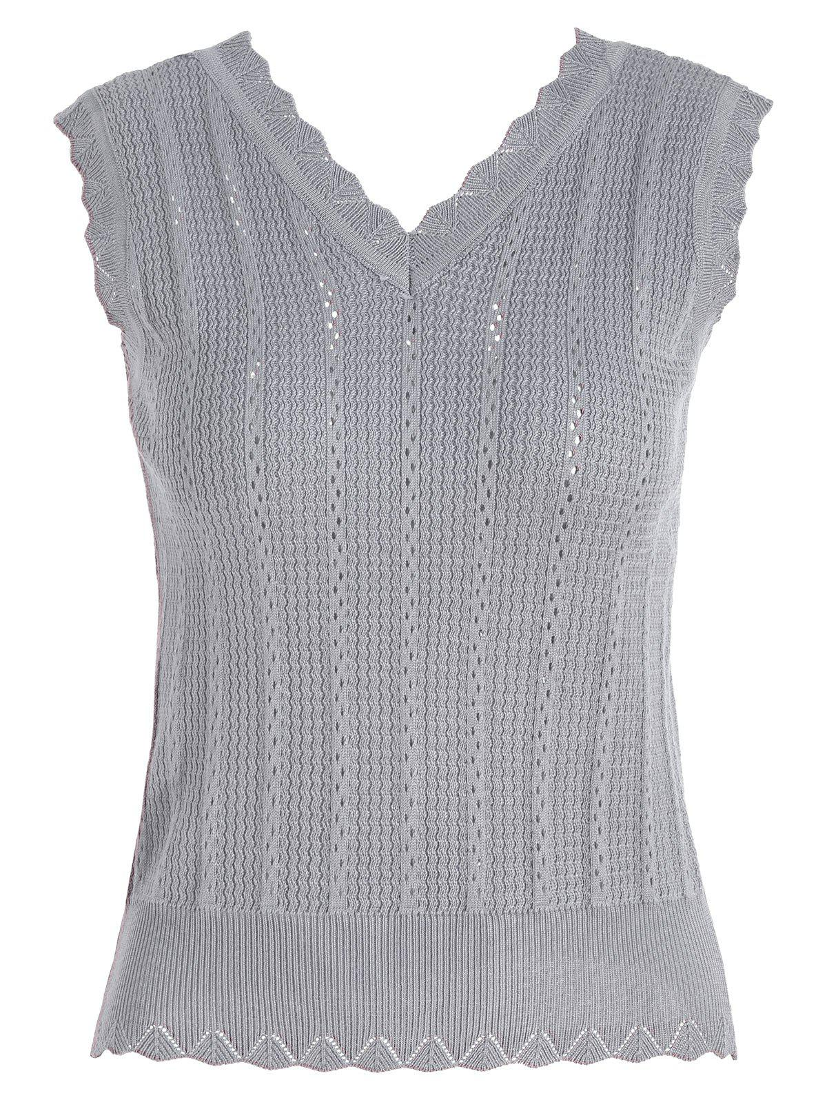 V Neck Knitted Vest - GRAY ONE SIZE