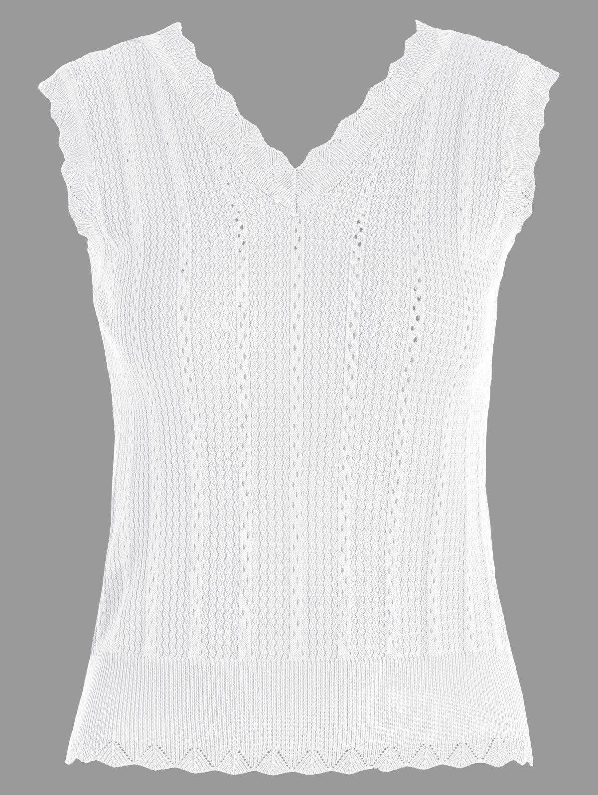 V Neck Knitted Vest - WHITE ONE SIZE