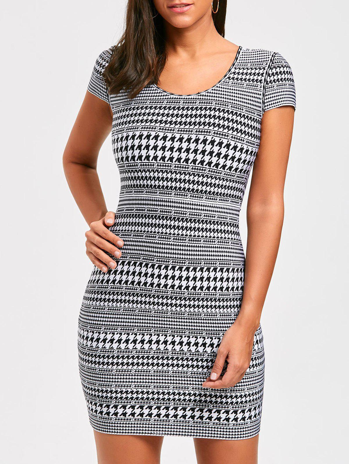 Cap Sleeve Houndstooth Print Bandage Dress - BLACK L