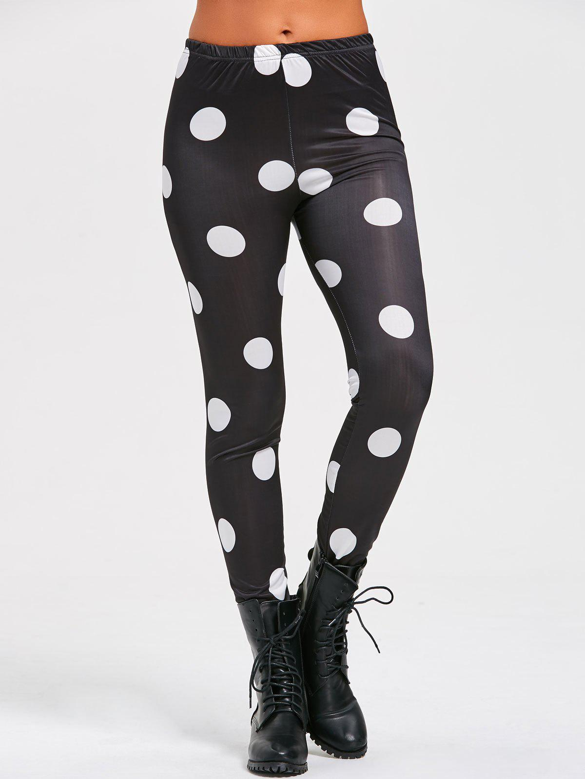 Skinny Polka Dot Print Leggings - BLACK L