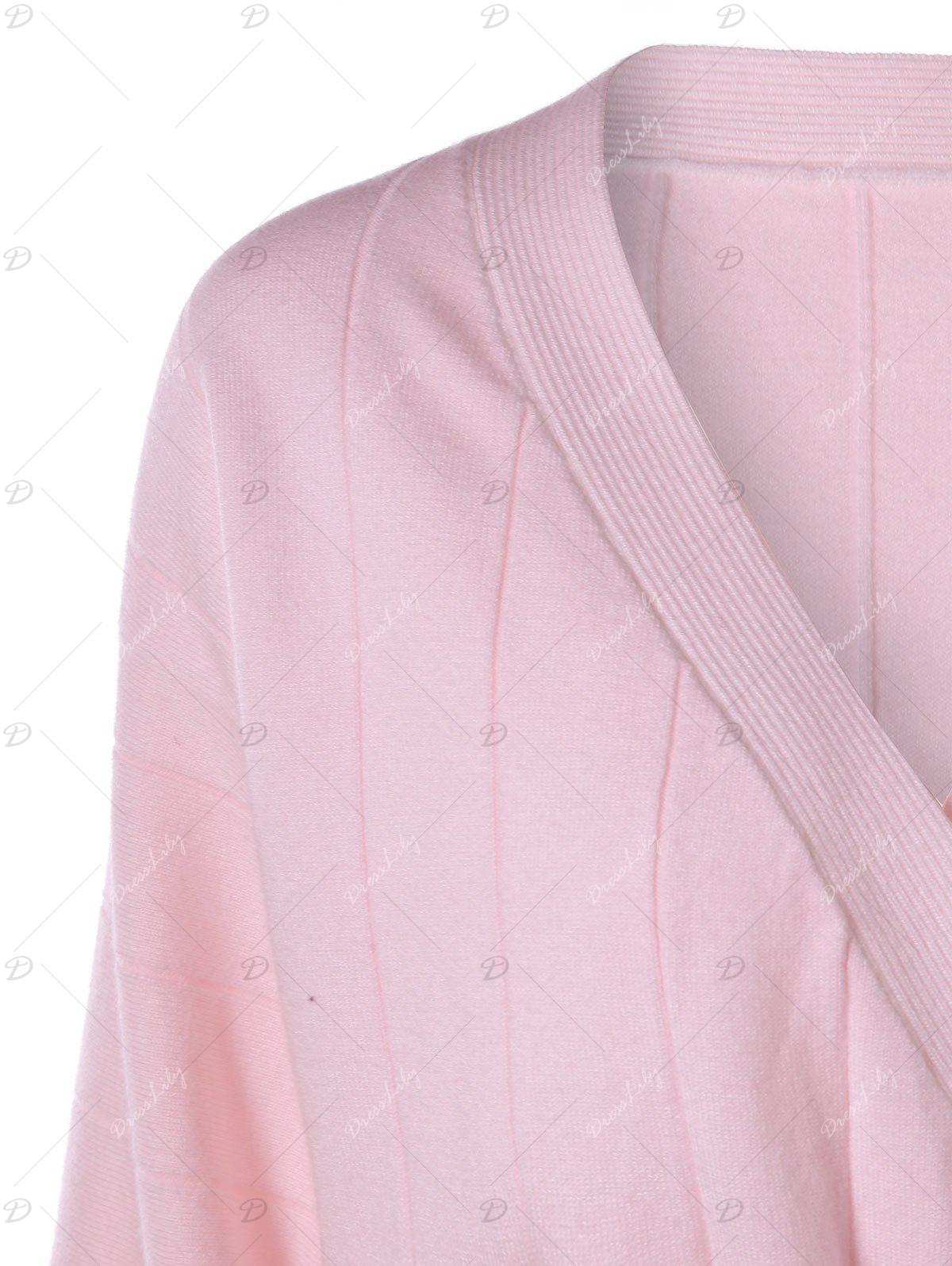 Striped Button Up Sweater - PINK M
