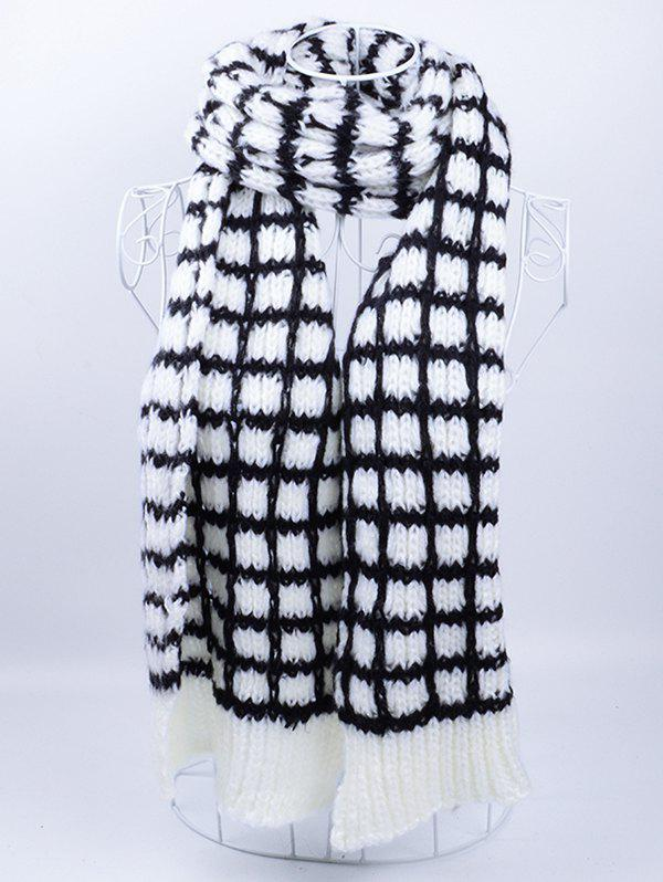 Soft Crochet Check Pattern Long Scarf - Blanc Noir
