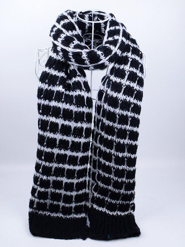Soft Crochet Check Pattern Long Scarf - Noir