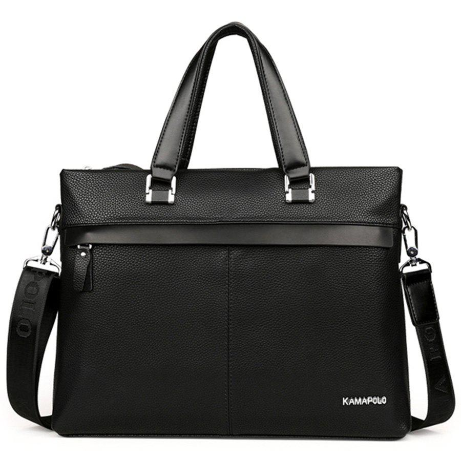 Letter PU Leather Handbag - BLACK