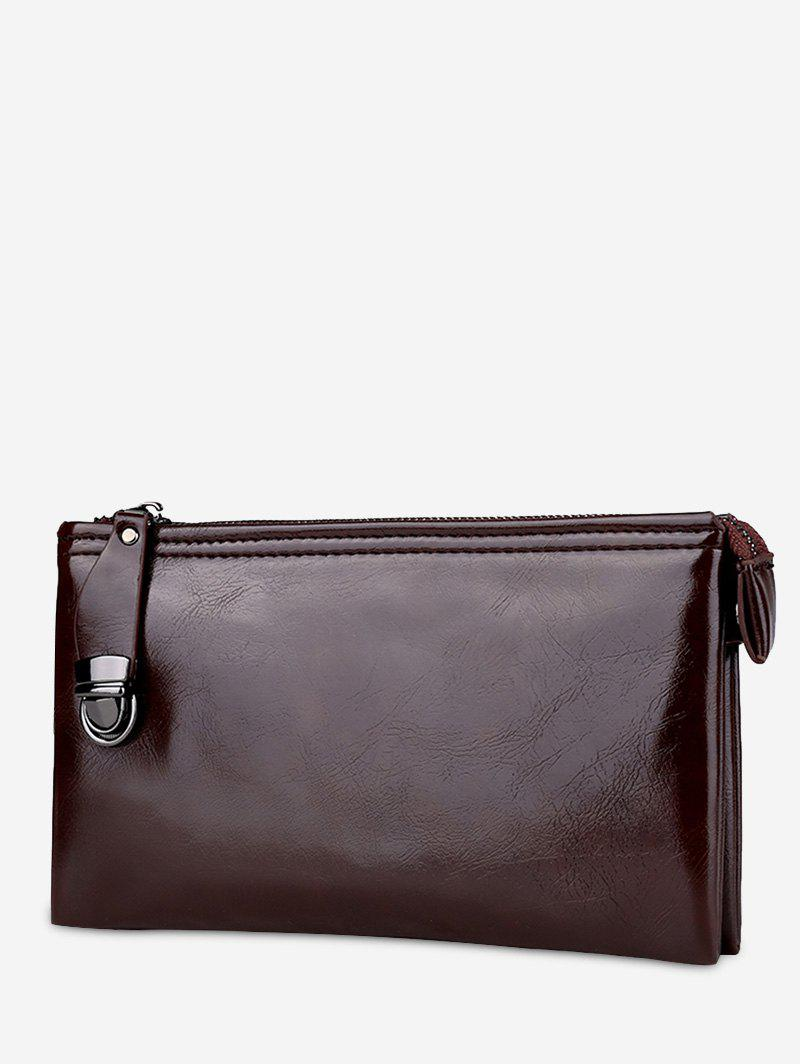 Zip PU Leather Clutch Bag - COFFEE
