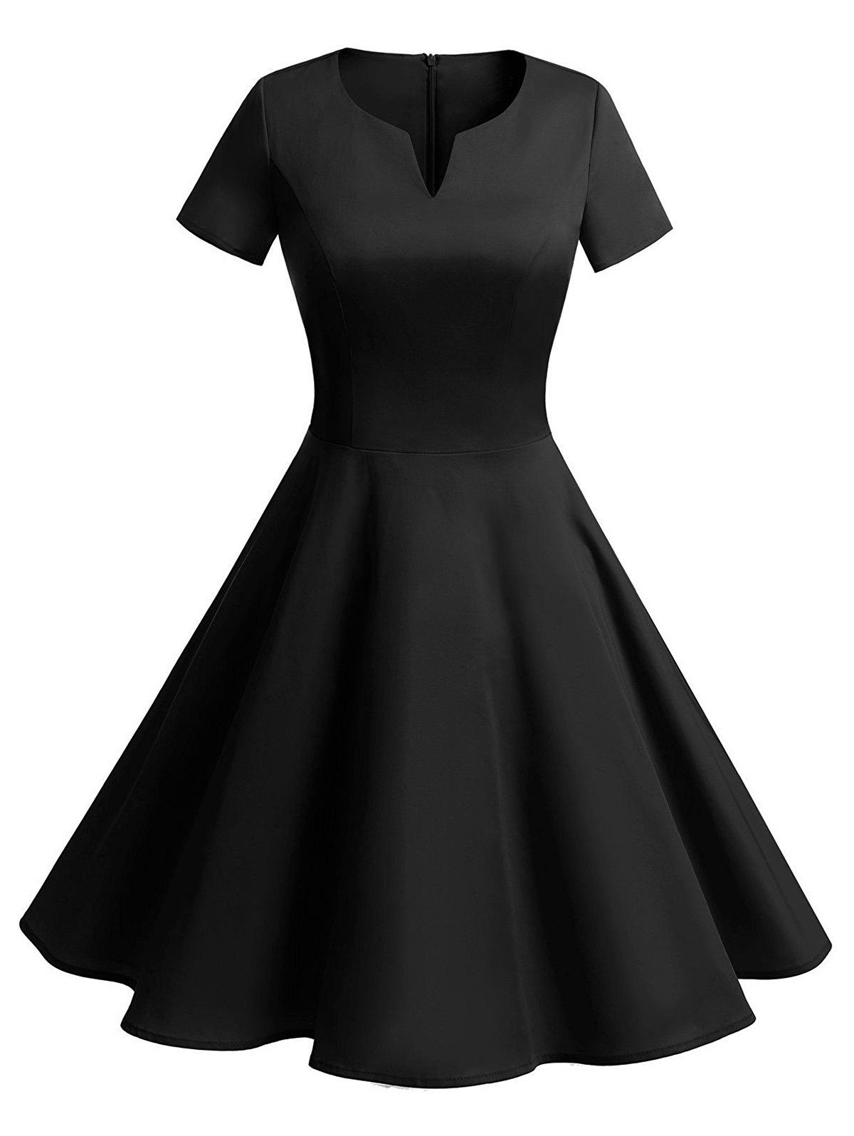 Vintage Fit and Flare Knee Length Dress - BLACK M