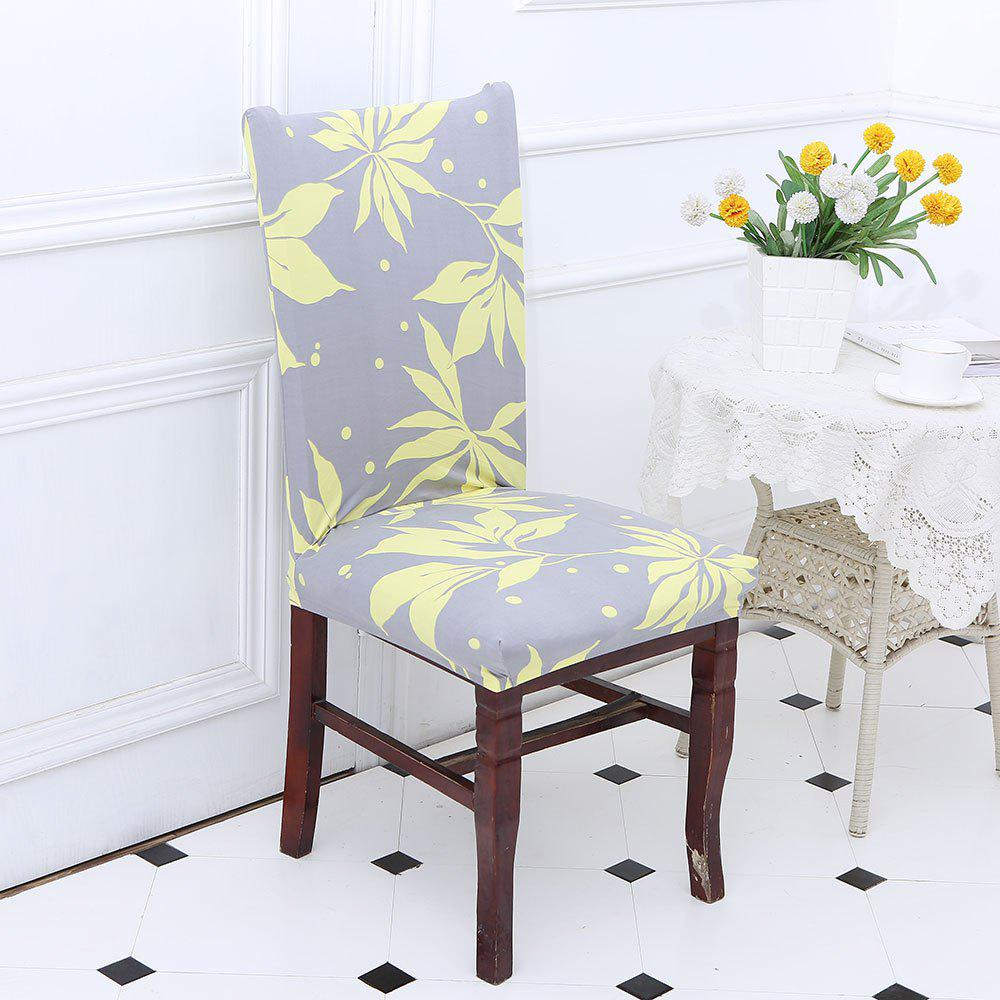Removable Leaves Pattern Stretch Elastic Chair Cover - YELLOW / GRAY