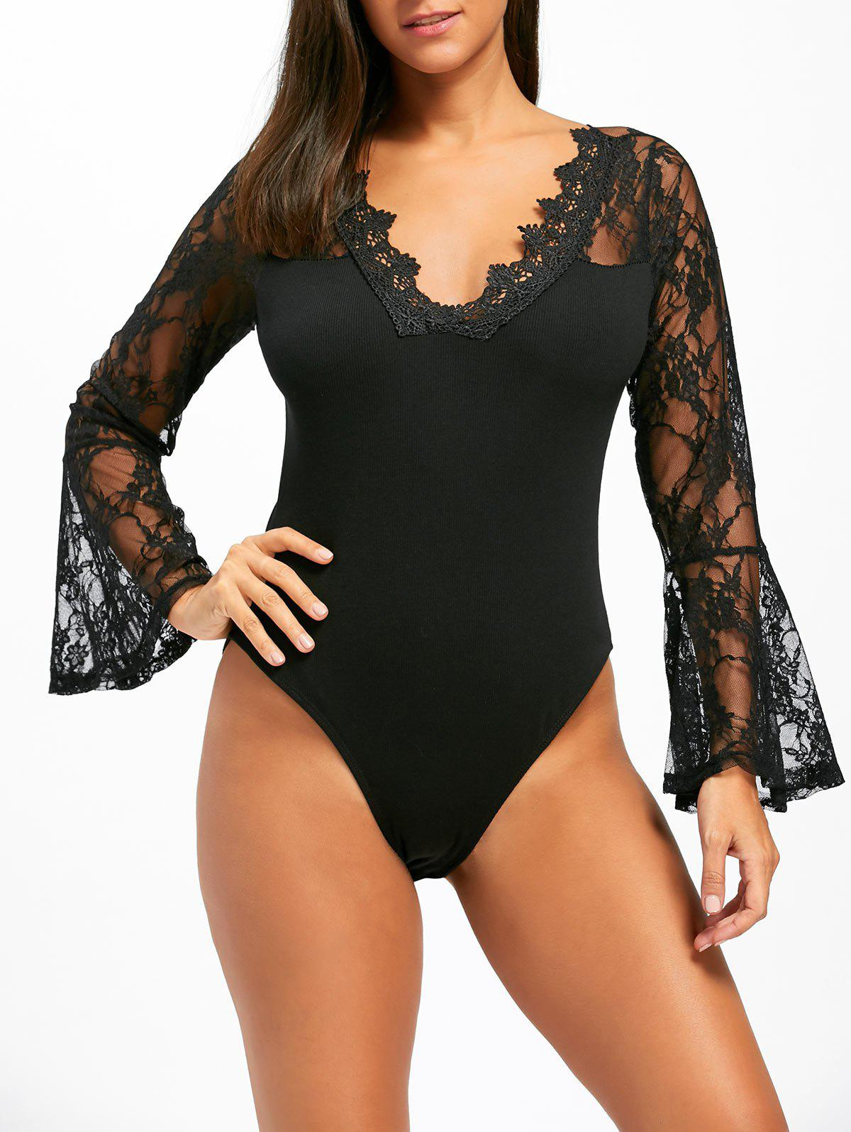Flare Sleeve Lace Bodysuit - BLACK L