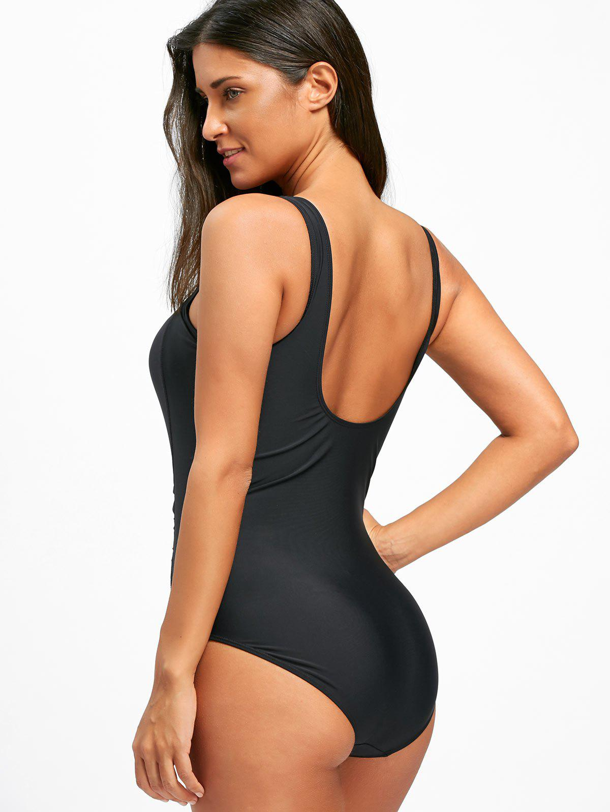 One Piece Ruched Square Neck Swimsuit - BLACK XL