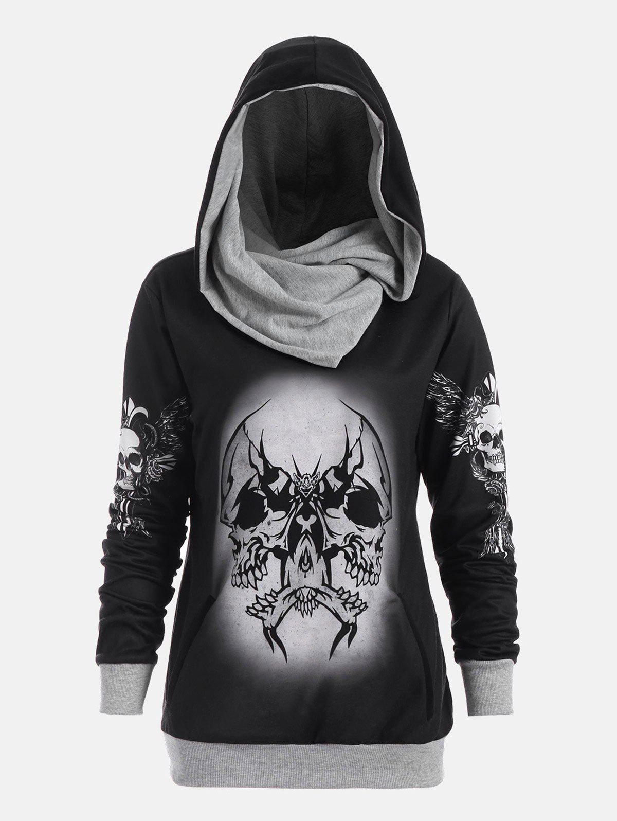 Skull and Wings Print Halloween Hoodie - GRAY L