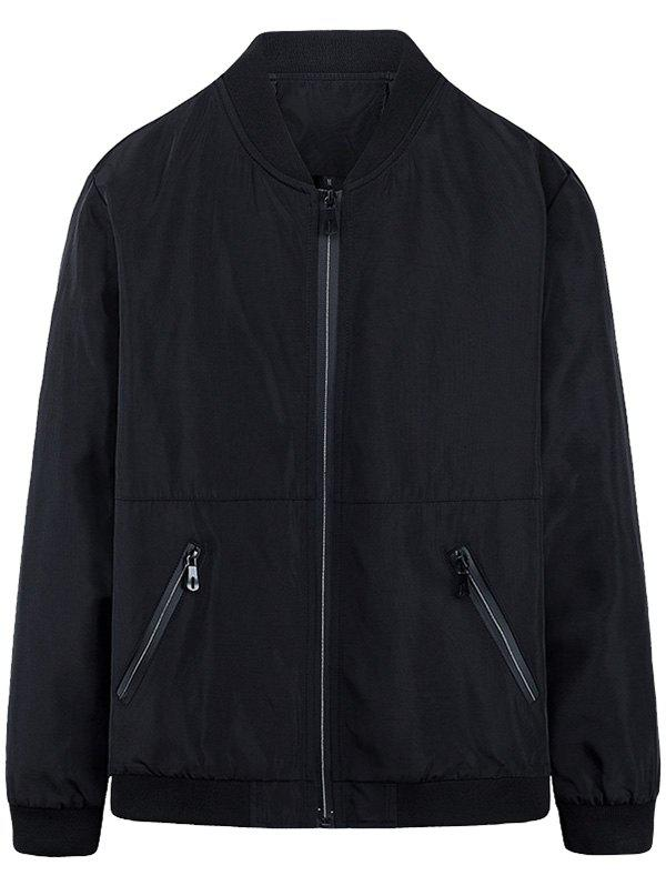 Slim-fit Stand Collar Zip Up Jacket - BLACK 3XL