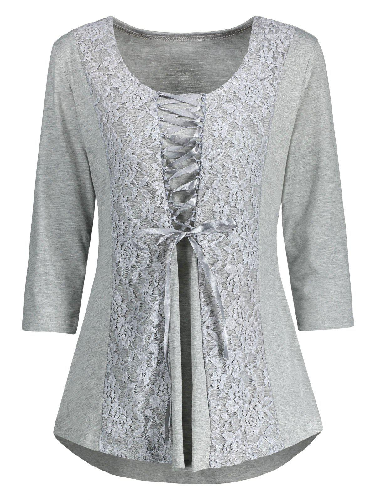 Lace Panel Lace Up Top - GRAY M