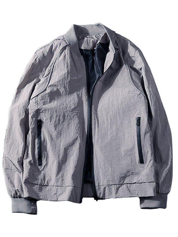 Slim-fit Side Pocket Zip Up Jacket - GRAY M