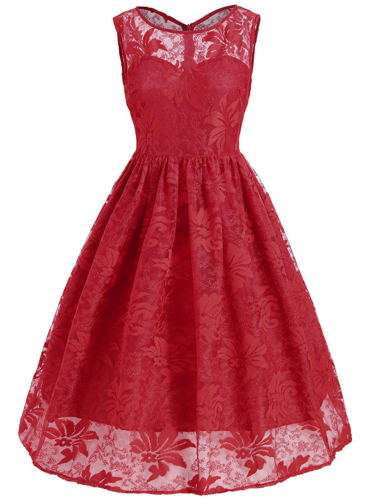 Lace Insert Sleeveless A Line Dress - RED 2XL