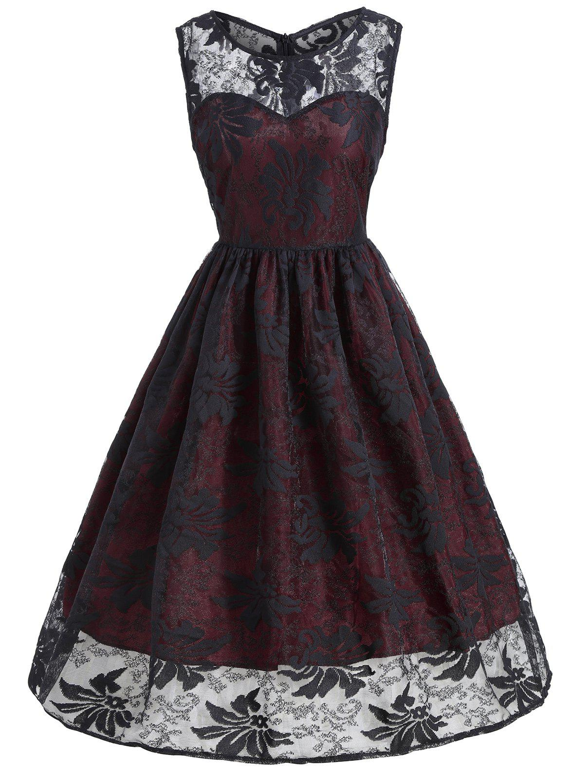 Lace Insert Sleeveless A Line Dress - WINE RED S