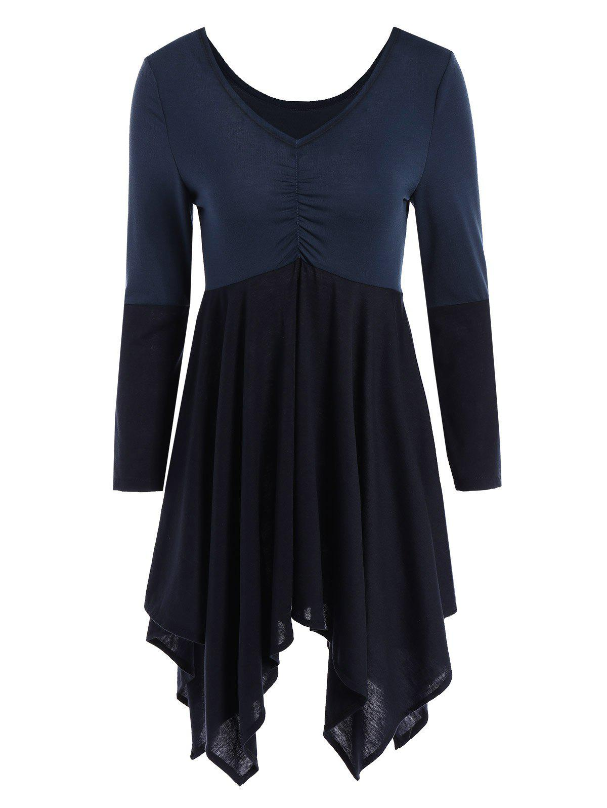 Color Block High Waist Hankerchief Tunic Dress - PURPLISH BLUE L